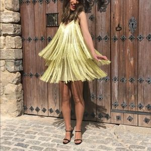 Zara Fringed Dress Yellow M /mn